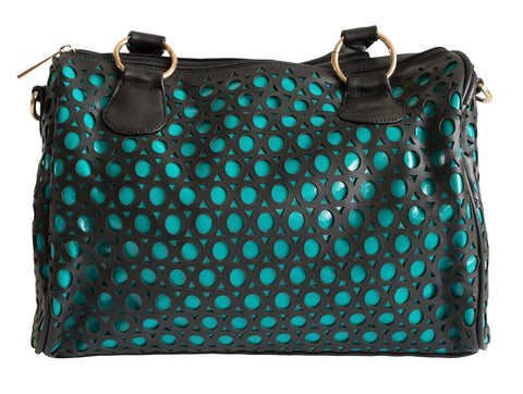 Laser Cut Circle Pattern Vegan Leather Turquoise Vinyl Clutch Bag, Well Done Goods