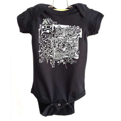 Circuit Board Print Baby Onesie, silver on black. Well Done Goods