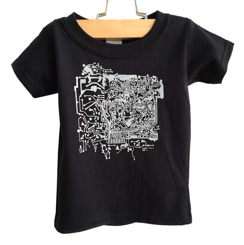 Circuit Board Kids T-Shirt, silver print on black. Well Done Goods