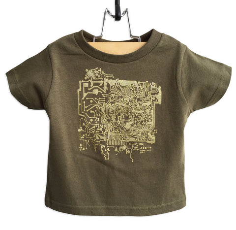 Circuit Board Toddler T-Shirt, gold print on black. Well Done Goods
