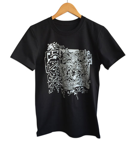 Circuit Board Print T-Shirt, black and silver. Well Done Goods by Cyberoptix