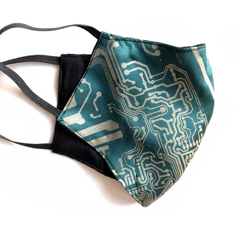 Circuit Board Print Face Mask, adjustable cloth face cover. Emerald green