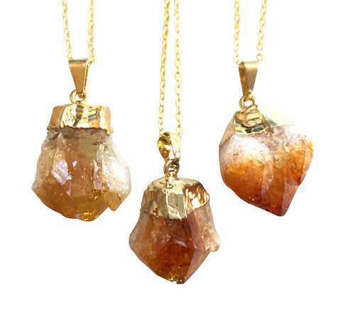 Citrine Point Pendant Necklace, by Well Done Goods