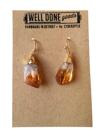 Citrine Point Raw Stone Earrings, Well Done Goods