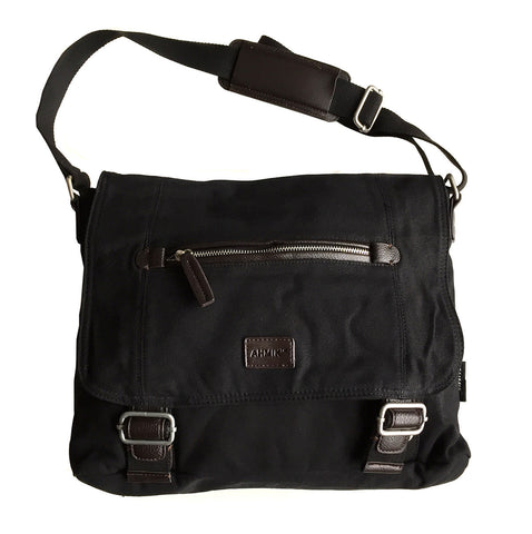 Classic Black Canvas Messenger, Cross Body Bag, by Well Done Goods