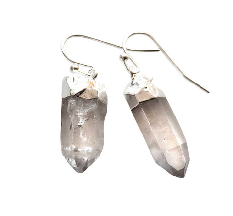 Clear Quartz Crystal Point Dangle Earrings, Well Done Goods