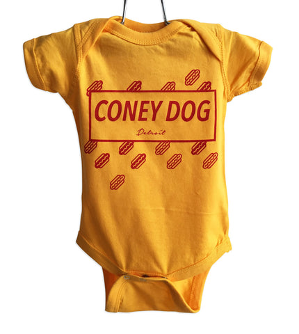 Coney Dog Party Red on Gold Baby Onesie, Flying Wieners and Buns, Well Done Goods