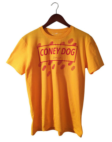 Coney Dog Party T-Shirt, Flying Wieners & Buns, Red on Mustard. Well Done Goods