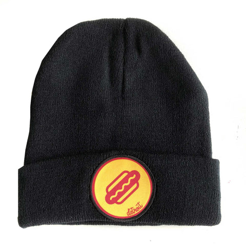 Coney Dog Detroit Beanie Cap, Black Skullcap. Well Done Goods