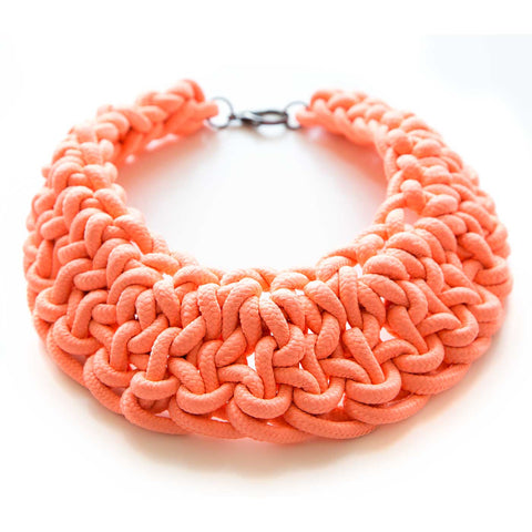 Oversize Bib Collar, woven coral cotton rope. At Well Done Goods