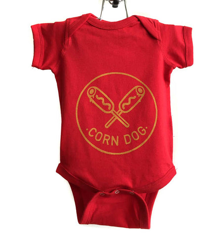 Corndog Print Baby Onesie, mustard on red.  Well Done Goods by Cyberoptix