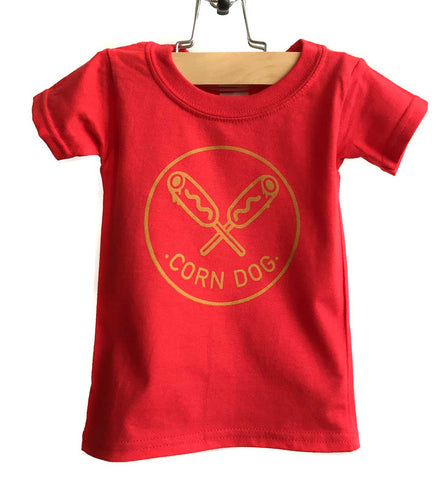 Corndog Print Toddler T-Shirt, mustard on red. Well Done Goods