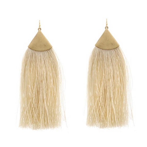 Cream Tassel Earrings, Brass Triangle Accent. Well Done Goods