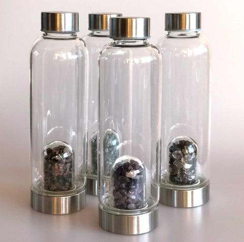Tumbled Gemstone Infused Glass Water Bottles