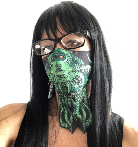 Cthulhu Face Mask. HP Lovecraft fan, fabric face cover. Hand Made in Detroit, USA
