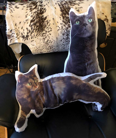 Custom Cat Pillows. Cat size (reclining tabby) Cat-and-a-half (sitting grey)