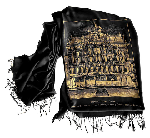 Black and gold Detroit Opera House & Hudson's Printed Scarf, Cyberoptix