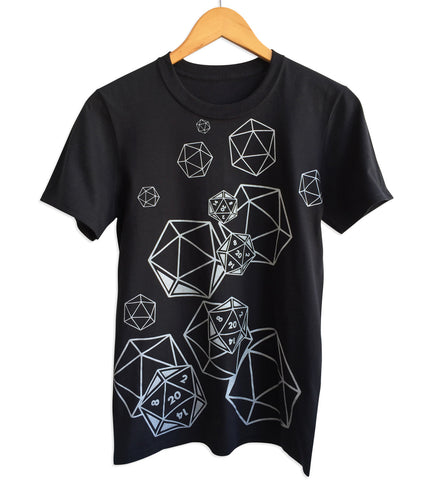 D20 Dice Print Black T-Shirt, Well Done Goods