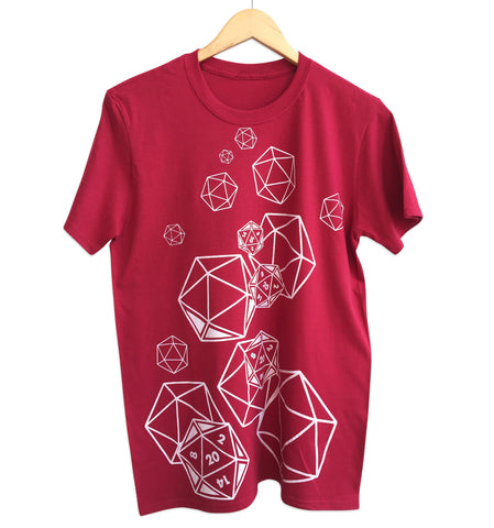 D20 Dice Print Antique Cherry Red T-Shirt, Well Done Goods
