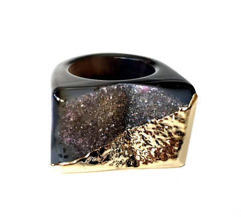 Gold Coated Dark Agate Druzy Raw Stone Ring, Well Done Goods