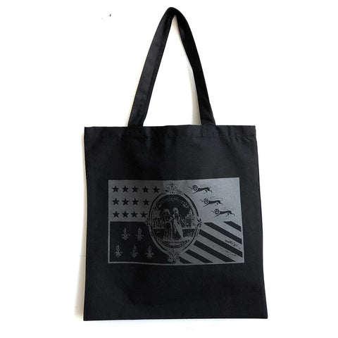 Detroit City Flag Tote Bag. 1940s Flag, Black on Black. Well Done Goods