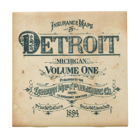 Detroit 1800s Fire Insurance Map Drink Coaster, Well Done Goods