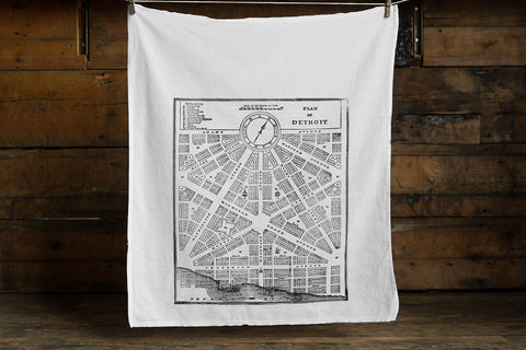 Detroit 1800s Map Egyptian Cotton Flour Sack Towel, Vintage City Plan, by Well Done Goods