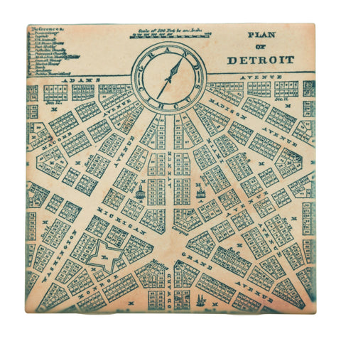 Detroit 1800s Map Plan Drink Coaster, Well Done Goods