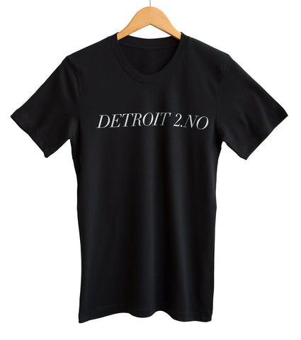 Detroit 2.NO White on Black Adult T-Shirt, Well Done Goods