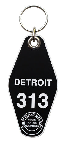 Detroit Motel Style Keychain Tag, Room 313, Black and White, by Well Done Goods