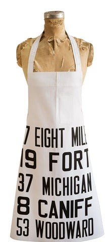 Detroit Bus Scroll, Main Routes Print Chef Apron, Well Done Goods
