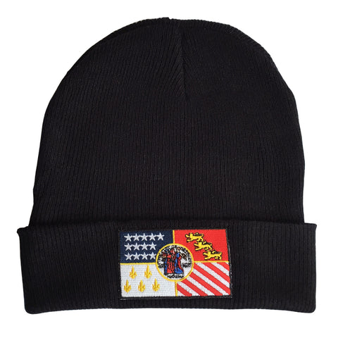 Detroit City Flag Black Beanie Cap, Well Done Goods