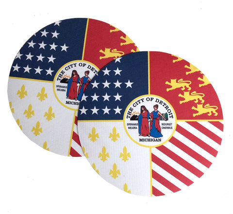 Detroit City Flag Turntable Slipmats, 1 Pair. Well Done Goods