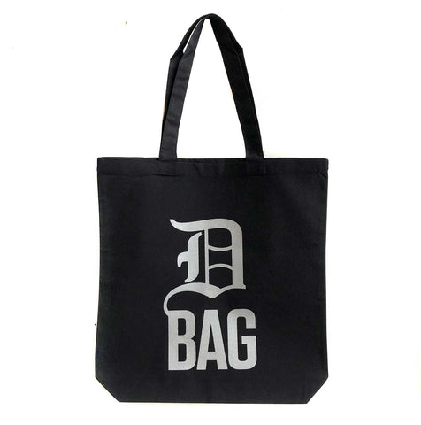 D Bag Tote Bag, Detroit Old English D. Silver on black, Well Done Goods