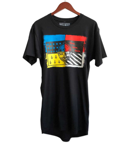 Detroit Flag Limited Edition Hand Painted T-Shirt. Color-Block, Long Cut Tee. Well Done Goods