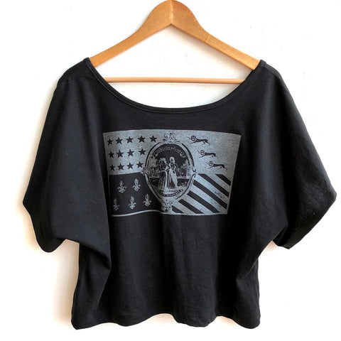 Detroit Flag Women's Crop Top, Black on Black