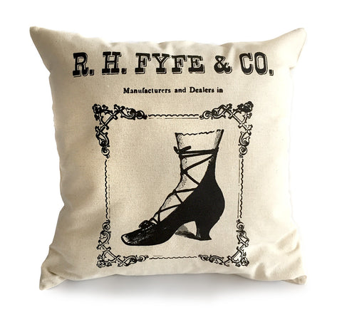 Boots & Shoes Throw Pillow, Fyfe Detroit Advertising Print