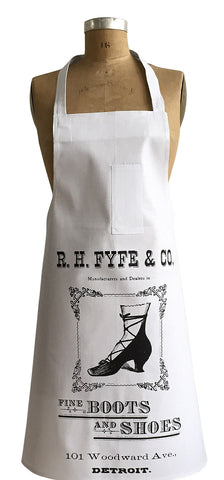 Boots & Shoes Print Chef Apron, Detroit RH Fyfe Co. Vintage Ad