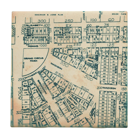 Grand Circus Park Map Drink Coaster, Well Done Goods