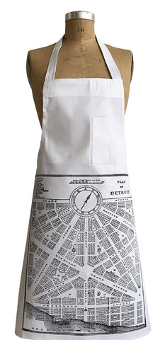 Detroit Map, 1831 City Plan Chef Apron, Well Done Goods