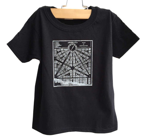 Detroit Map Toddler T-Shirt, 1831 Vintage City Map. Black. Well Done Goods