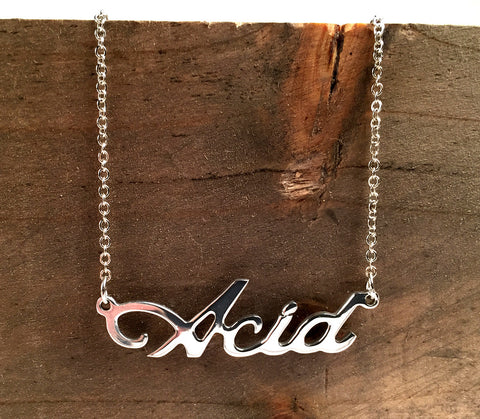 Acid Techno script nameplate necklace, silver. By well done goods