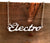 Electro Script Necklace, techno. Silver nameplate, by Well Done Goods