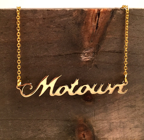 Gold Detroit Music Script Necklace, Motown Nameplate pendant. Well Done Goods by Cyberoptix