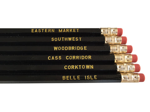 Detroit Pencil Set, gold on black. Well Done Goods by Cyberoptix