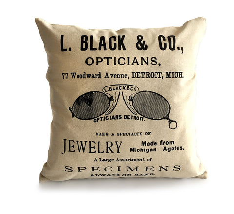 Optical Shop Throw Pillow, Detroit Advertising Print