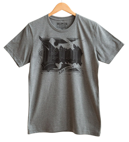 Detroit Roaring 20s Font Black on Heather Grey T-Shirt, Well Done Goods