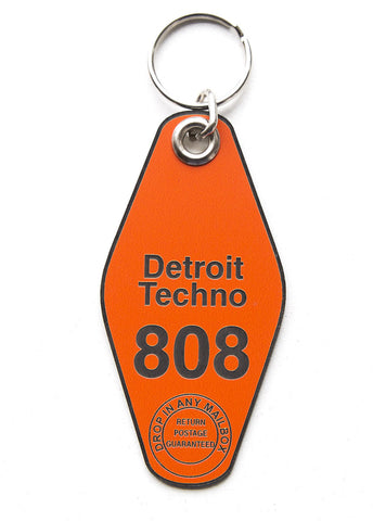 Detroit Techno Motel Style Keychain, Orange and black. Well Done Goods by Cyberoptix