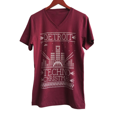 Detroit Techno Christmas V-Neck T-Shirt