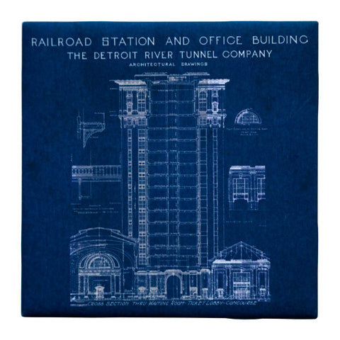 Train Station Blueprint Ceramic Drink Coaster, Navy Blue. Well Done Goods